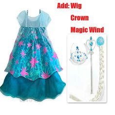 Free shipping Crown Set only 14.99$ Retail girl dress 2016 New girls Elsa & Anna baby Dress Girl Princess Dresses party costume #Affiliate