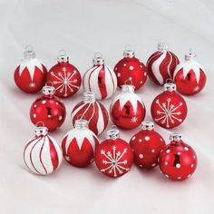 Red & White Decorated Christmas Ornaments - great for adding to a red and white themed tree.