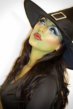 """When my oldest Grandson was only a year and a half --or maybe 2 years old-- I put on  some witchy-looking makeup, a long black stringy wig, and a witch's hat and the poor little boy was scared to death of me!  I was made up similar to this, but I also painted a real ugly wart on my face, and maybe even a spider web.  Having a """"Senior moment"""" so I'm not sure about the spider web, but in either case our baby boy did not want to come anywhere near Grandma."""