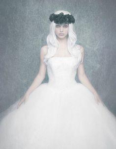 Photographer: David Benoliel Stylist: Jessica Bosch Dress: What Goes Around Comes Around NY Flower crown is stylist's own.#darkbeauty #DarkBeautyMag #fashion #photography