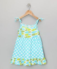 Take a look at this Aqua Punch Polka Dot Ruffle Dress - Infant, Toddler & Girls by Flap Happy on #zulily today!