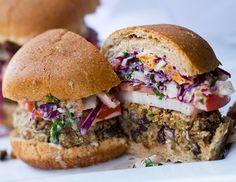 Vegan Black Bean Fiesta Veggie Burgers Topped with Slaw
