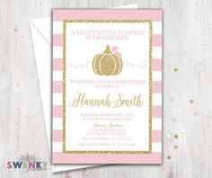 Little Pumpkin Baby Shower Invitation Fall Autumn Bash Sprinkle Couples Wood Rustic Print Yourself
