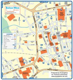 Map of Bolton West created in 2011 for Thomson Directories. One of approximately 350 UK town and city maps produced royalty free. Find out more...  http://www.pcgraphics.uk.com   or read our blog...    http://www.pcgraphics.uk.com/blog/