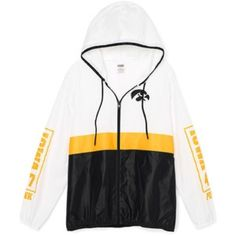 PINK University of Iowa Anorak Full-Zip Brand new with tags. Lightweight full zip jacket with hood and side pockets. Iowa graphics on front and both sleeves. Perfect to stand out in the stadium and support the Hawkeyes! PINK Victoria's Secret Jackets & Coats