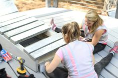 Contestants on @HomeFreeFOX work to build a #diy #concrete chaise lounge for the outdoor living area of this episode.