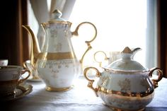 Tea party. 1950s Tea Set. Sterling China.Gold Lustre Pattern. gold roses. on Etsy, $74.00