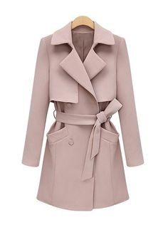 pink coat // Pastel Pink Structured Trench Coat