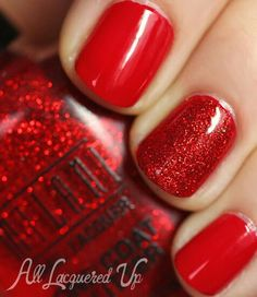 """If you're unfamiliar with nail trends and you hear the words """"coffin nails,"""" what comes to mind? It's not nails with coffins drawn on them. It's long nails with a square tip, and the look has. Love Nails, How To Do Nails, Pretty Nails, Glitter Manicure, Glitter Nail Polish, Red Sparkle Nails, Red Manicure, Red Polish, Red Nails With Glitter"""