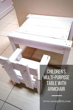Children's multipurpose table with an armchair. The table is 40 centimeters high, 50 centimeters wide, and 60 centimeters long. The armchair is 40 centimeters high, 30 centimeters wide, and 30 centimeters long. All parts are processed by hand, sander, and sandpaper, and painted with environmentally friendly paints. The production time was one day, and two … Read More » #PalletArmchair, #PalletChairs, #PalletCraftsForKids #FunPalletCraftsforKids, #Pall