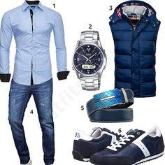 Herren Outfit mit blauer Weste und Ledergürtel (m0523)