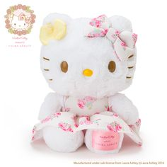 9832ae903 Hello Kitty Plush Toy (Hello Kitty meets LAURA ASHLEY) Kawaii Plush, Kawaii  Cute