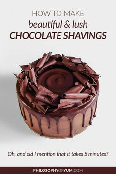 Make your own luscious chocolate shavings in 5 minutes! Add a professional edge to cakes, cupcakes and tarts. Easy cake decorating at its best! Creative Cake Decorating, Cake Decorating Techniques, Creative Cakes, Decorating Ideas, Easy A, Cake Pops, Cupcakes, Ganache Cake, Baking Business
