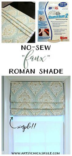 So SIMPLE!! No Sew Faux Roman Shade artsychicksrule.com