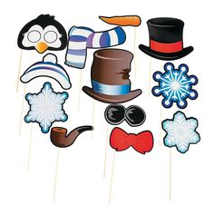 Snowman & Penguin Photo Stick Props - OrientalTrading.com we can take out the pipe!!