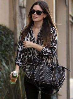 Rachel Bilson * love her style all black! Animal Print Blouse, Leopard Print Top, Leopard Blouse, Rachel Bilson, Rachel Zoe, Love Her Style, Style Me, Girl Style, Divas