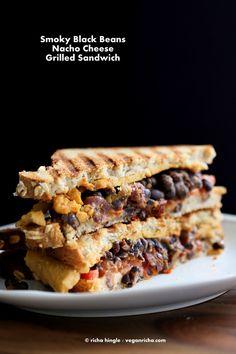 Smoky Black Bean Nacho Cheese Sandwich. Vegan Recipe