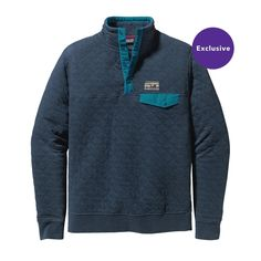 Lightweight and limber—the Patagonia Men's Cotton Quilt Snap-T® Pullover is made of soft organic cotton/polyester blend for everyday layering and warmth. Mens Outdoor Clothing, Cotton Polyester Fabric, Half Zip Pullover, Contrast Collar, Outdoor Outfit, Outdoor Gear, Henley Shirts, Cotton Quilts, Sweater Outfits