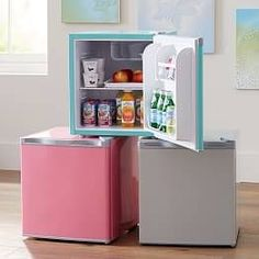 Shop mini fridge from Pottery Barn Teen. Our teen furniture, decor and accessories collections feature fun and stylish mini fridge. Create a unique and cool teen or dorm room. Mini Fridge In Bedroom, Mini Fridge Decor, Retro Cooler, Dorm Room Organization, Pottery Barn Teen, Pbteen, My New Room, Room Decor, Decoration