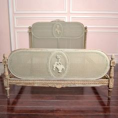 Gorgeous Vintage Queen Cane Bed Frame in Sage Cane Furniture, Furniture Decor, Shabby Chic Queen Bed, French Antiques, Vintage Antiques, French Bed, French Decor, Chanel, Classic Furniture
