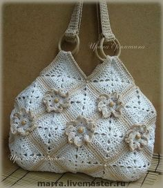 """Buy a knitted bag """"caramel color"""". Bag with flowers Crochet Bag Tutorials, Crochet Purse Patterns, Crochet Handbags, Crochet Purses, Rainbow Crochet, Handmade Notebook, Handmade Bags, Handmade Bracelets, Knitted Bags"""