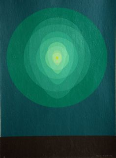 Clarence Holbrook Carter, American (1904 - 1998)  Title: Untitled - Teal Circle Mandala   Year: 1969  Medium: Silkscreen, signed and numbered in pencil   Edition: 75  Paper Size: 30 x 22 inches via Ro Gallery.