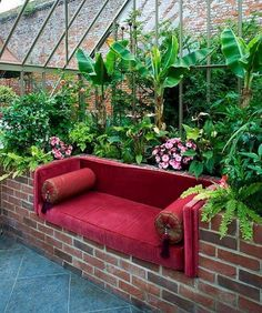 Love the IDEA for inside a greenhouse. Make brick in to shelves for storing supplies, white twinkle lights, and a table for a rustic version with multiple purposes. (how to design garden lighting) What Is Greenhouse, Greenhouse Plans, Greenhouse Gardening, Greenhouse Wedding, Greenhouse Shelves, Outdoor Greenhouse, Large Greenhouse, Gazebos, Garden Design