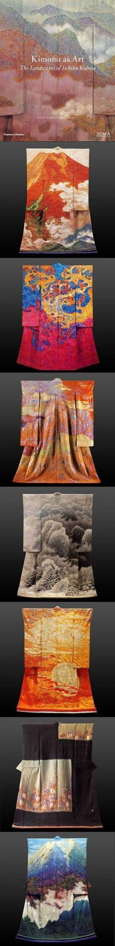 Landscape Kimonos by Itchiku Kubota (1917-2003) who brought to his work an emotional response to nature that was both deeply personal and uniquely Japanese. S)