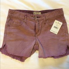 """Free People Corduroy Purple Shorts Free People corduroy purple shirts with frayed finish detailing! Super fitted and hits mid thigh on me (I'm 5'2"""") Free People Shorts Jean Shorts"""
