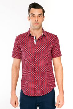 Checkered Pattern Shirt // Red
