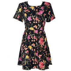 Vintage Floral Skate Dress ($26) ❤ liked on Polyvore featuring dresses, floral pattern dress, short floral dresses, vintage flower print dress, botanical dress and flower pattern dress