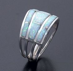 Andrew Enrico (Zuni) - Three Row Gilson Opal & Sterling Silver Channel Inlay Ring #41914 $75.00