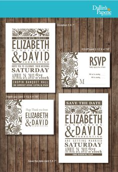 Modern Brown Wedding Invitation RSVP Thank your card Save the date DIY Printable - Customized. $30.00, via Etsy.