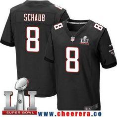 Men's Atlanta Falcons #8 Matt Schaub Black Alternate 2017 Super Bowl LI Patch Stitched NFL Nike Elite Jersey