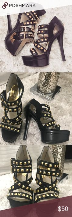 """MK Aria Studded Heels // Reposhing // Black & Gold How g o r g e o u s are these • black studded Michael Kors """"Aria"""" platform heels • I bought these from a fellow posher and have NEVER worn them cause they are a little too high for me 😪 // HOWEVER, they're on my #poshmark closet right now for ONLY $50! // Comes with original shoe box! -- 🎉🥂 shop my #poshmark closet: @thehauteindian // use my code {UJEIX} for a •$5• credit when you sign up for Posh 🥂🍾 Michael Kors Shoes Platforms"""