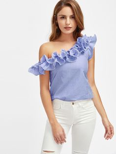 SheIn offers Lettuce Edge Frill Asymmetric Shoulder Striped Top & more to fit your fashionable needs. One Shoulder Ruffle Top, One Shoulder Tops, Buy My Clothes, Clothes For Women, White Short Sleeve Tops, White Tops, Red Tops, White Pants Outfit, Embellished Top