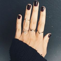 Dark red nails Our style inspiration for our #minimalistjewelry #minimalistjewellery #minimalist #jewellery #jewelry #jewelleries #jewelries #minimalistaccessories #bangles #bracelets #rings #necklace #earrings #womensaccessories #accessories #minimalistbabe #minimalistbabes