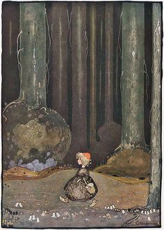 little red cap  Gustaf Tenggren--Vintage Fairy Tale Illustration
