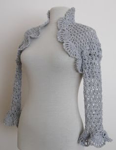 Knitting And Beading Wedding Bridal Accessories and Free pattern: Crochet shrug in light grey / weddings bridal bridesmaids
