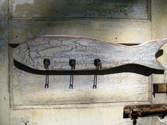 Reclaimed Wood Fish Coat Rack Wood Folk Art Fish Coat Hook Wood Fish Wall Rack Wood Wall Hook Wood Fish Hook Handmade Wooden Fish Carving