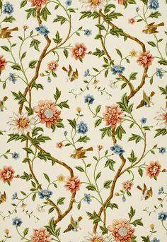 Fabric | Shangtu Floral in Porcelain | Schumacher