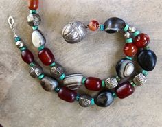 Old Banded Black Agates Necklace with Large by CatchingWaves