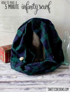 make a 5 minute infinity scarf #scarf #sewing #fashion