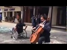 Karim Wasfi Plays His Cello At The Spot Of A Car Bomb