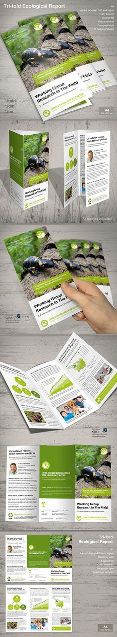 Tri-fold Ecological Report Brochure Template InDesign INDD #design Download: http://graphicriver.net/item/trifold-ecological-report-/13554760?ref=ksioks