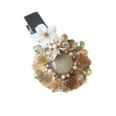Hanabe 'Kakis' Handmade Gorgeous beaded mother of pearl crystal hairclip hairpin >>> Visit the image link more details.
