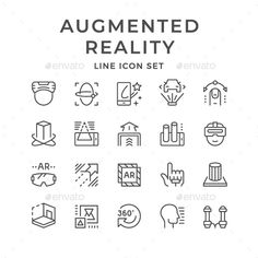 Icons of Augmented Reality. Fully customisable set of icons.Line Icons of Augmented Reality. Fully customisable set of icons. Futuristic Technology, Cool Technology, Icon Design, Web Design, Design Art, Health Words, Best Icons, Thank You For Purchasing, Line Icon
