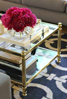 mint love social club: {gold + glass coffee table}