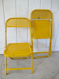 2 Bright Yellow Distressed Metal Kids Folding Chairs with Lattice  Design by PortlandiaRevibe on Etsy