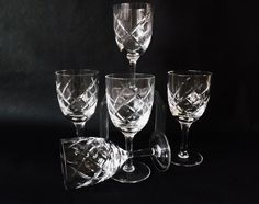 Set Vintage Sherry Glasses, Cut Glass Stemware, Port Glasses, Drinking Glass, Vintage Barware, Dinner Party Glasses, Glassware, Apéritif by CuriosAnCollectibles on Etsy